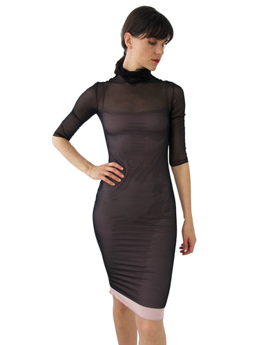 THE MESH DRESS - TURTLE NECK - THREE QUARTER SLEEVE