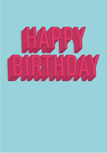 Happy Birthday 3D Typography Card