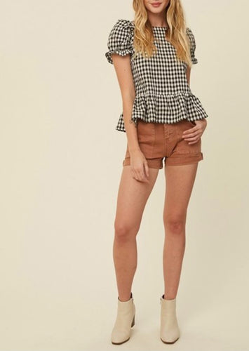 Gingham Puff Sleeve Ruffle Hem Top