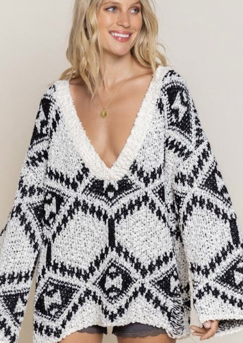 Aztec V-Neck Sweater