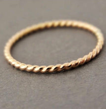 Load image into Gallery viewer, Gold Twisted Stacking Ring