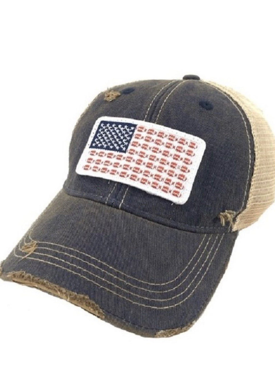 American Flag and Footballs Hat