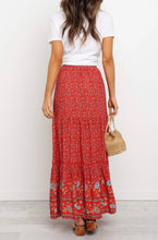 Load image into Gallery viewer, Red Boho Skirt