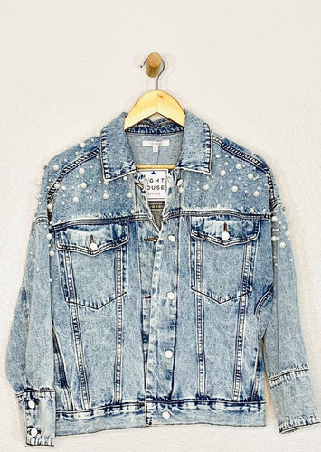 Pearl and Rhinestone Denim Jacket