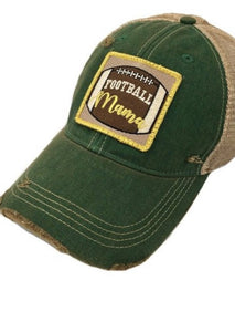 """Football Mama"" Green Baseball Cap"