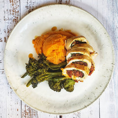 Stuffed Chicken with Sweet Mash & Broccolini ( Dairy-Free)( Paleo)