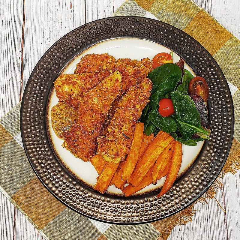 Almond Crusted Chicken Strips with Sweet Potatoes and Honey Mustard