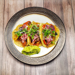 Shrimp and Steak Tacos with Paleo Tortillas, Cotija, Guacamole and Salsa