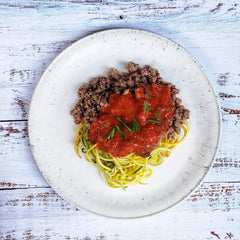 Ground Beef Pasta with Zucchini Noodles ( Paleo )