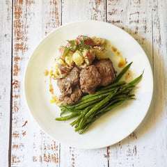 Slow-Cook Beef in Wine with Potato Salad and Green Beans