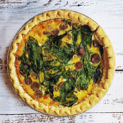 Sausage and Spinach Quiche with Fruit