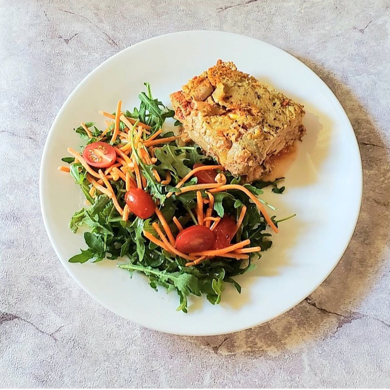 Vegan Zucchini and Artichoke Lasagna with Salad