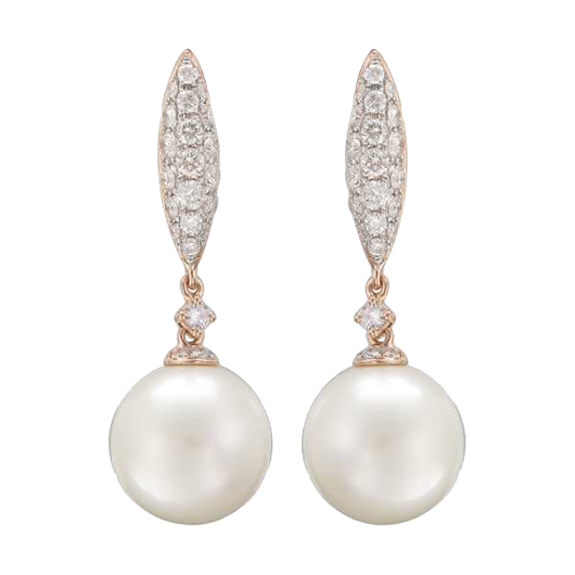 18k Pearl & diamond drops