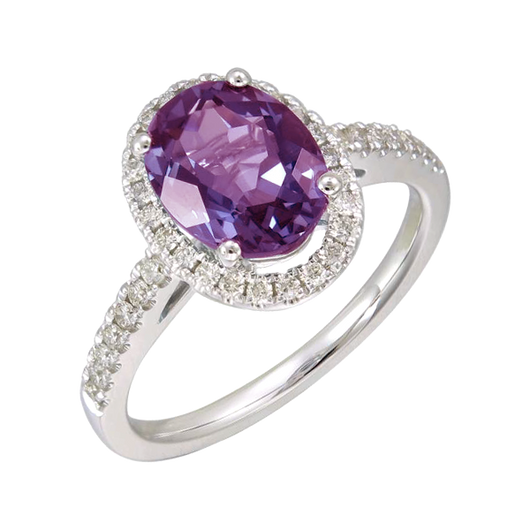 Amethyst oval diamond ring
