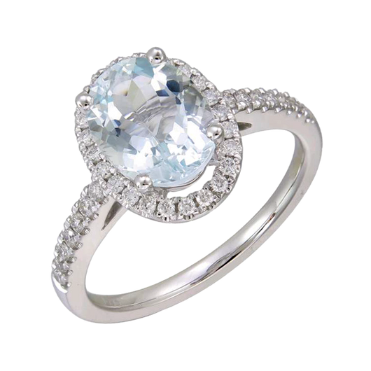 Aquamarine oval diamond ring