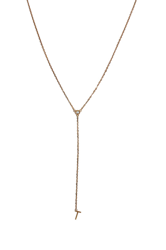 18k Letter drop diamond necklace