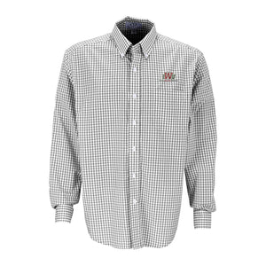 Vantage Men's Gingham Check Easy Care Button Down, Grey/White