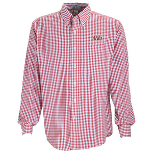 Vantage Men's Gingham Check Easy Care Button Down, Red/White