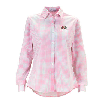 Vantage Women's Easy Care Button Down, Pink/White