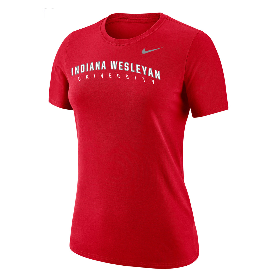 Nike Women's Dri-Fit Cotton Short Sleeve Tee, Red