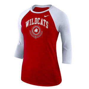 Nike Women's Dri-Fit Cotton Raglan Slub, Red