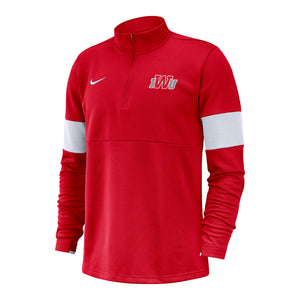 Nike Men's Coach 1/2 Zip Top, White/Red