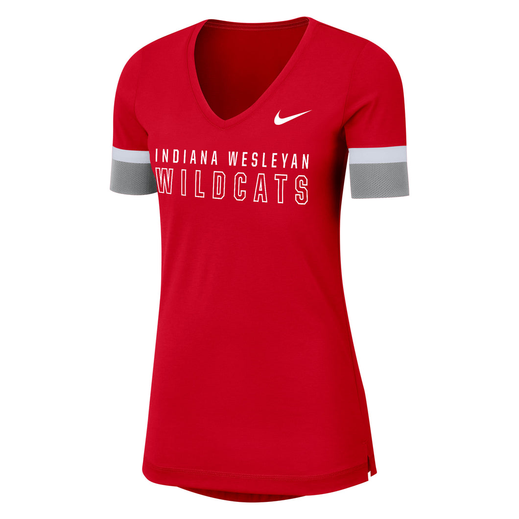 Nike Women's Fan V Short Sleeve Top, Red/White/Silver