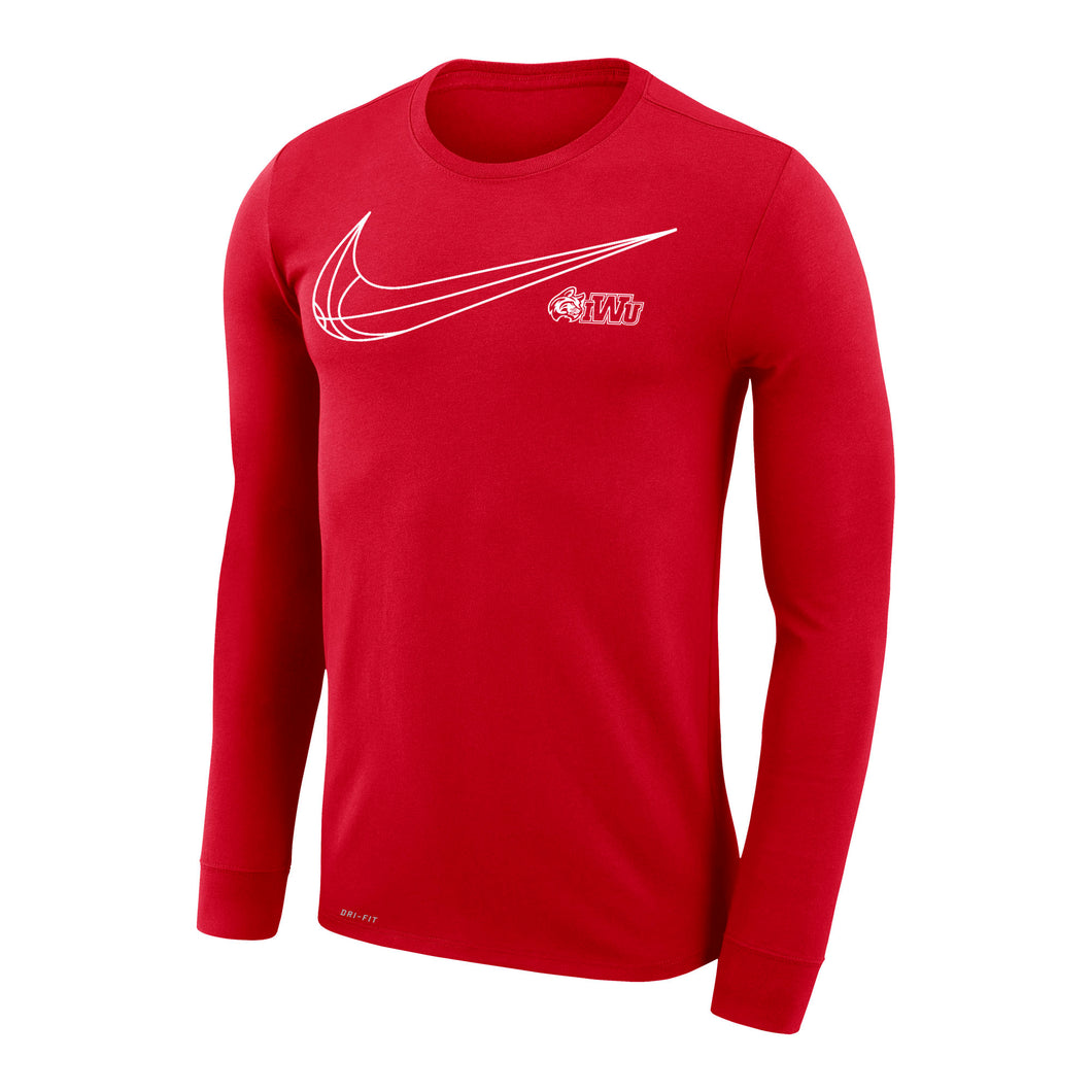 Nike Dri-Fit Legend 2.0 Basketball Long Sleeve Tee, Red