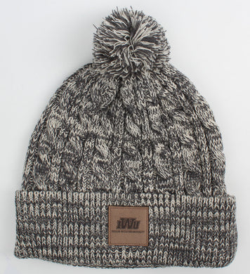Ahead Heather Cable-Knit W/Pom Beanie, University Grey