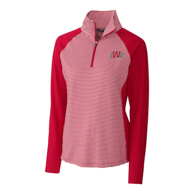 Cutter & Buck Women's Forge Tonal Stripe 1/2 Zip, Cardinal