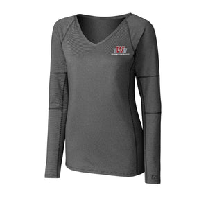Cutter & Buck Women's Long Sleeve Victory V-Neck, Black