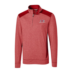 Cutter & Buck, Men's Shoreline Colorblock 1/4 Zip, Cardinal Heather