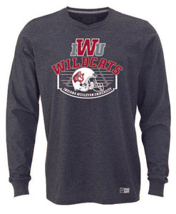 Men's Long Sleeve Helmet & Field Football Tee, Black Heather