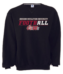 Men's Crewneck Football Sweatshirt, Black