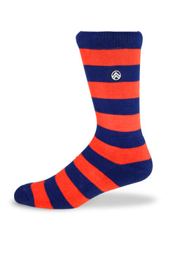 Sky Footwear Socks, Orange and Blue Rugby