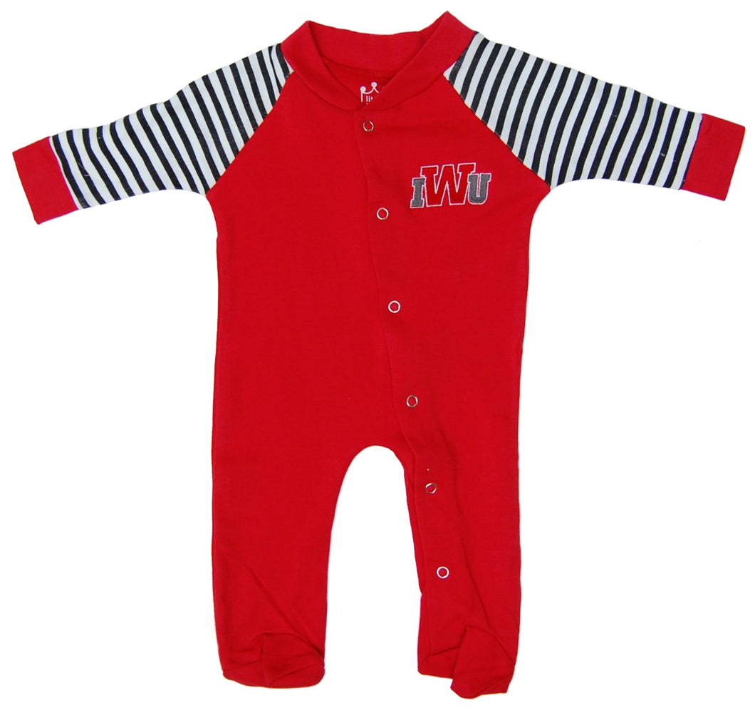 Little King Footed Snap Romper, Red/Black