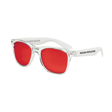 Spirit Outdoor Crystalline Mirrored Sunglasses, Clear W/ Red Lens