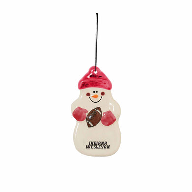 Spirit Home Football Snowman Ornament, White