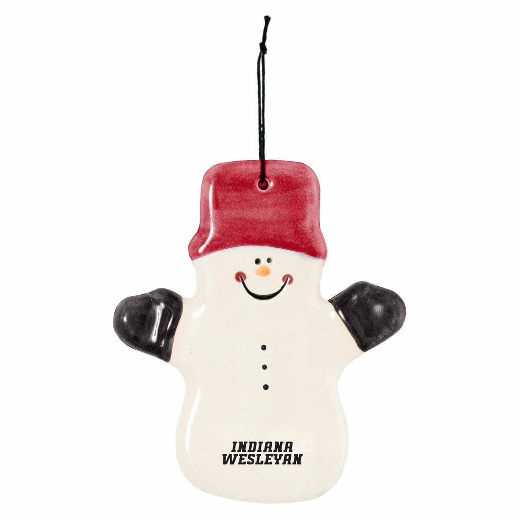 Spirit Claude The Snowman Ceramic Ornament, Red