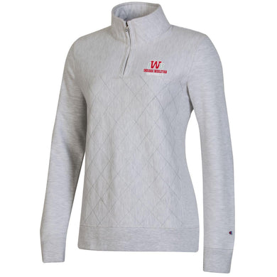Champion Women's Reverse Weave Quilted 1/4 Zip, Silver Grey