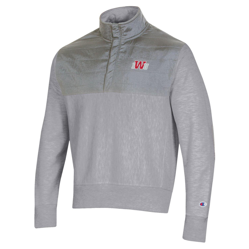Champion Men's Reverse Weave 1/4 Zip, Oxford Grey