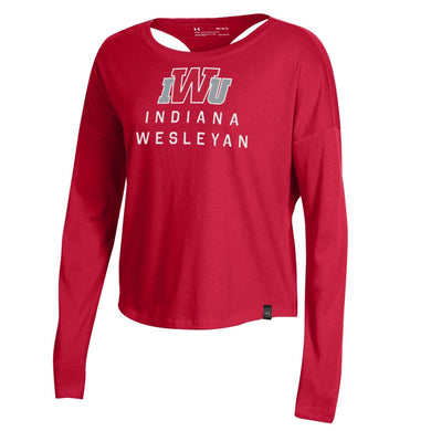 Under Armour Women's SMU Ascend Long Sleeve Tee, Red