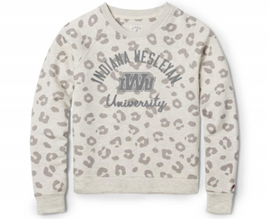 League Women's Academy Crew, Oatmeal Leopard