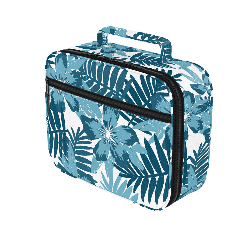 Lunch Bag - Blue and White Hawaiian Floral