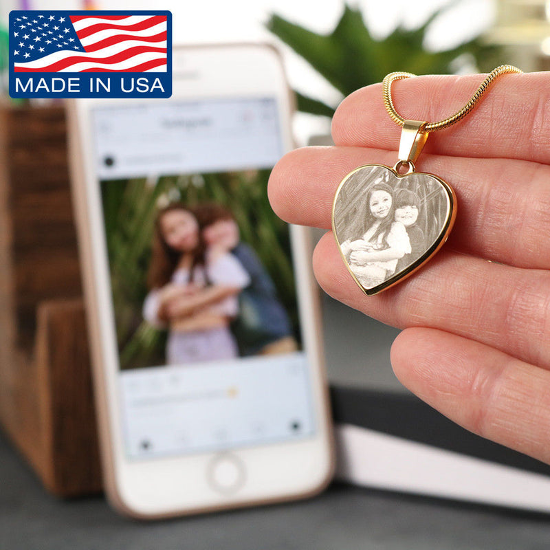 Custom - Photo Etched - Heart Pendant Necklace