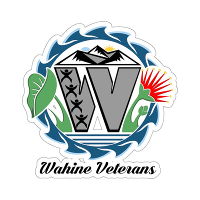 Wahine Veterans - Black Text - Kiss-Cut Stickers