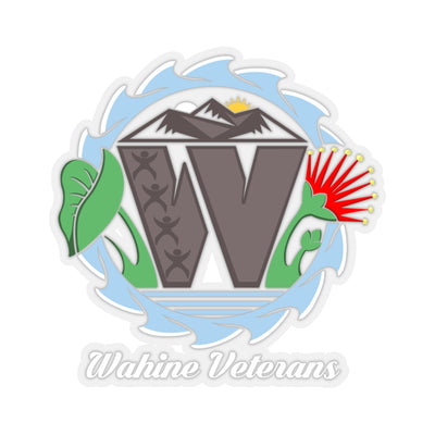 Wahine Veterans - White Text - Transparent Kiss-Cut Stickers