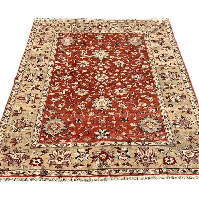 R13: Handmade Red Field Oushak Style Oriental Rug 9'9