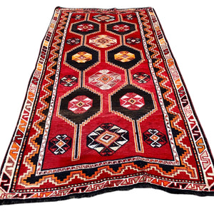 "R19: Red Tribal Area Rug 4'11"" x 9'7"""