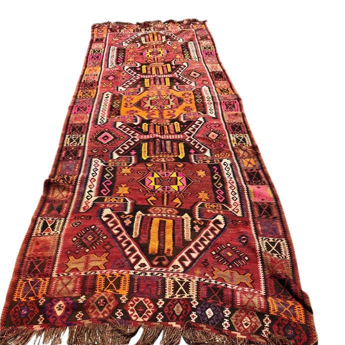 R26: Vintage Synthetic Dyed Kilim Rug